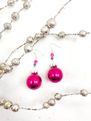 Magenta Glass and Crystal Ornament Earrings