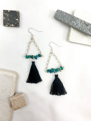 Tassels with Turquoise Chips on Sterling Silver Plated Chain