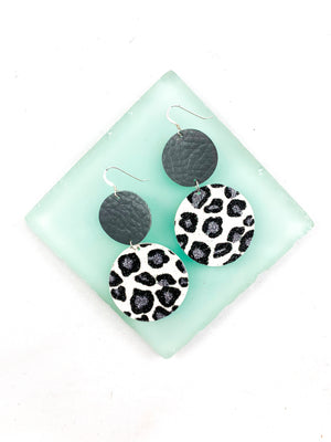 Gray Leopard Print Faux Leather Circles