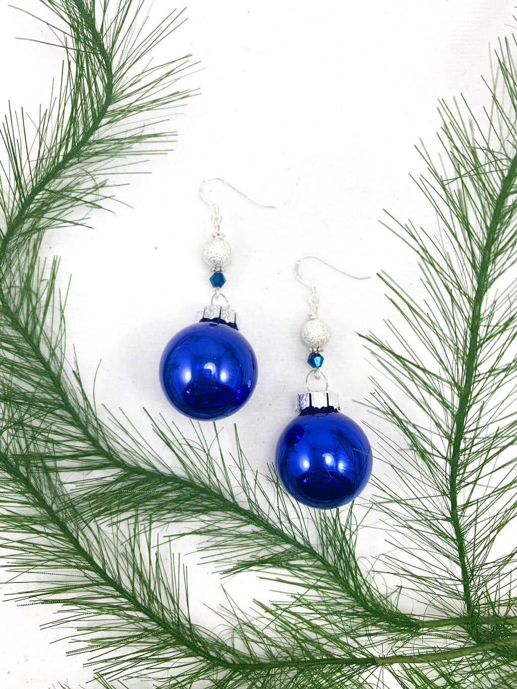 Cobalt Blue Glass and Crystal Ornament Earrings
