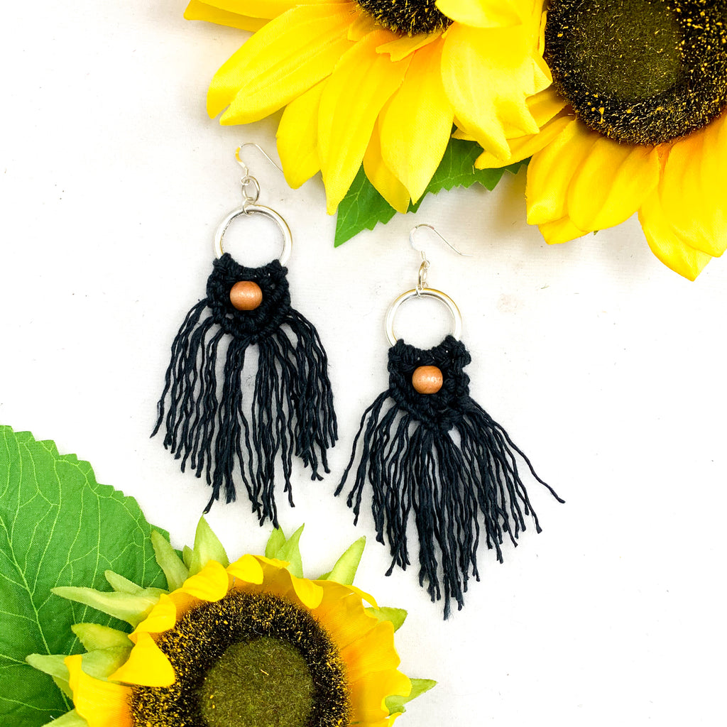 Boho Macrame Fringe with Center Wooden Bead Earrings