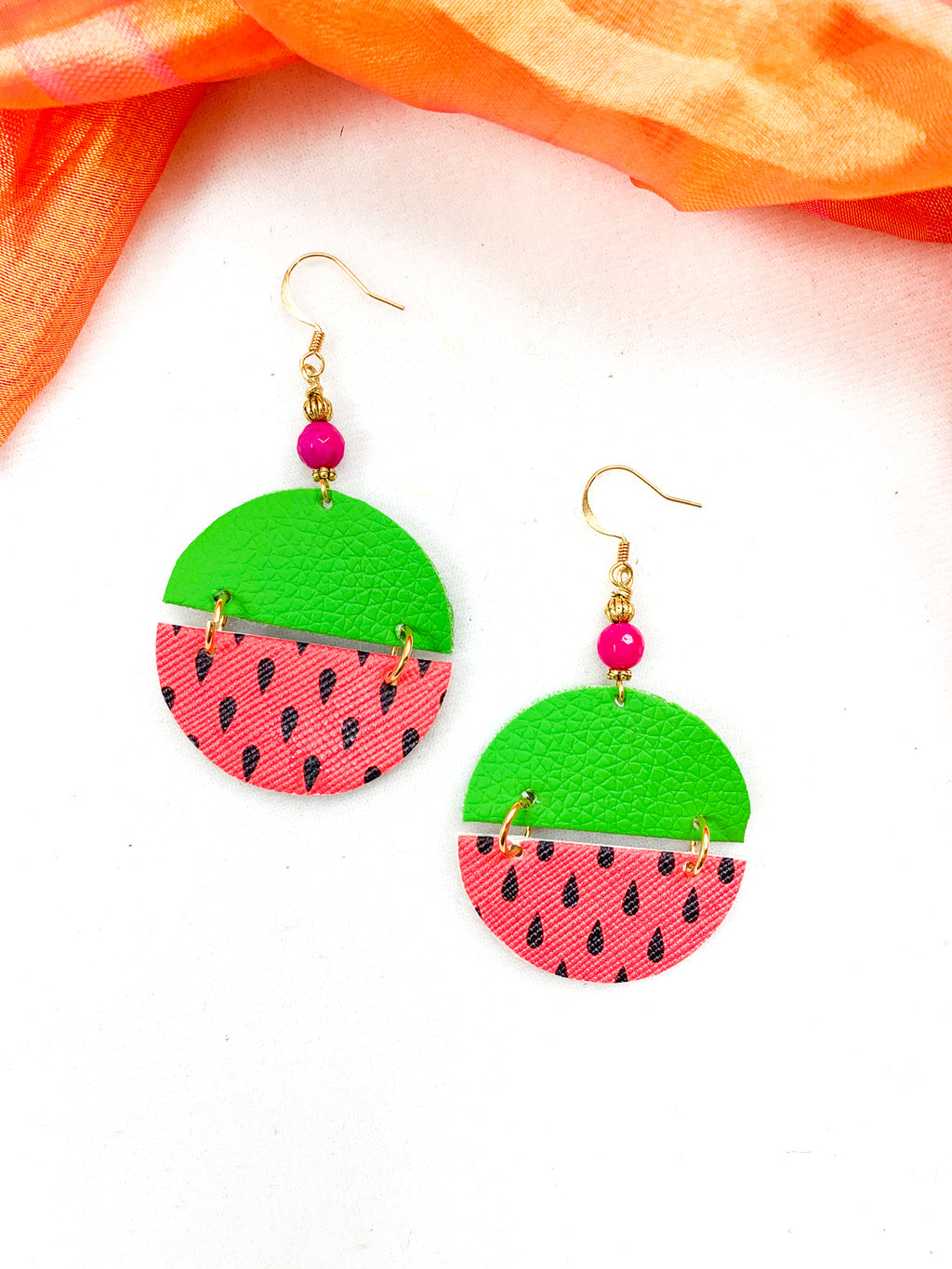 Watermelon Faux Leather Earrings with Pink Agate