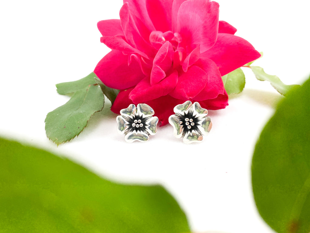 Solid Sterling Silver Flower Stud Earrings