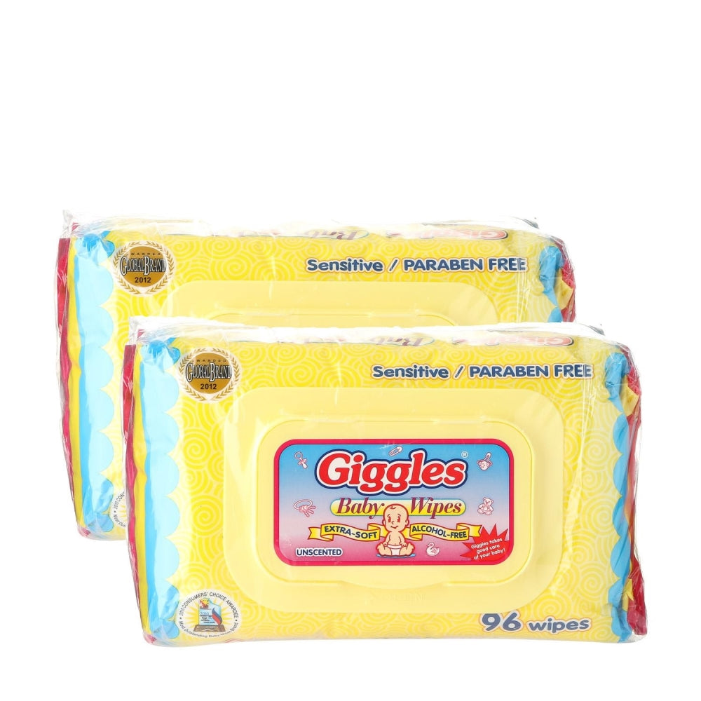 Giggles 2-pack Baby Wipes Unscented