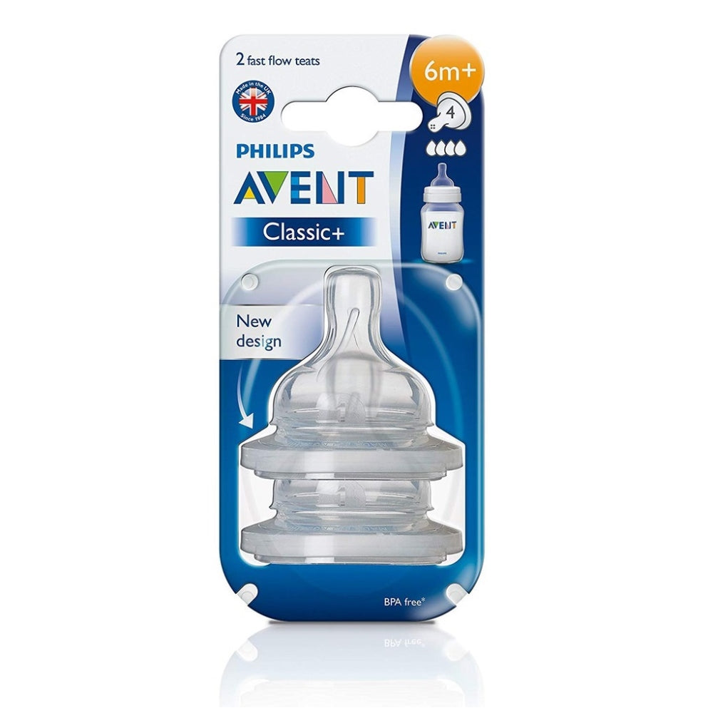 Philips Avent Classic 2-pack Fast Flow Teats 6mo+