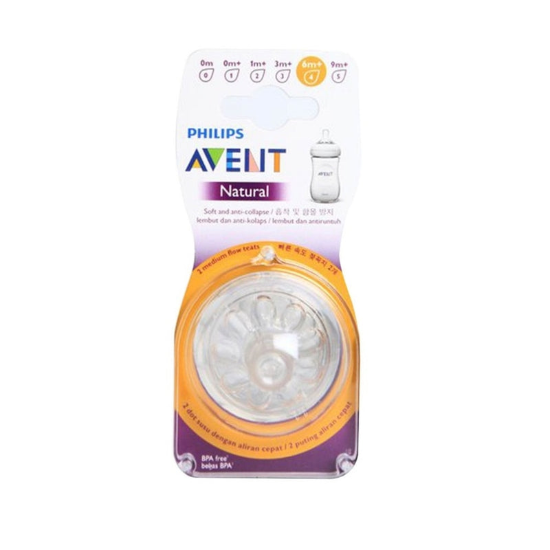 Philips Avent Natural 2.0 2-pack Fast Flow Teats 6mo+