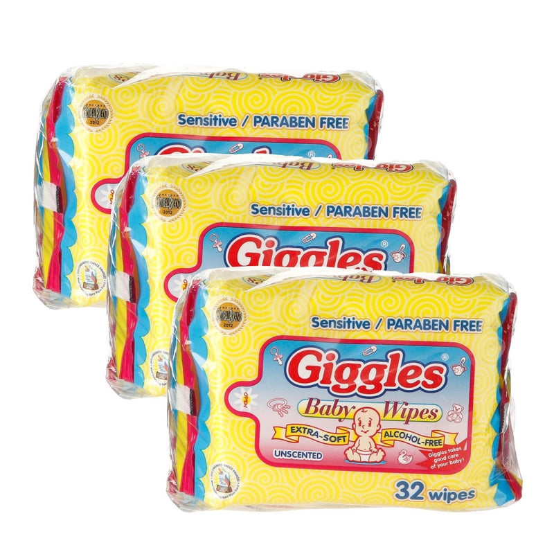 Giggles 3-pack Baby Wipes Unscented 30+2 Sheets