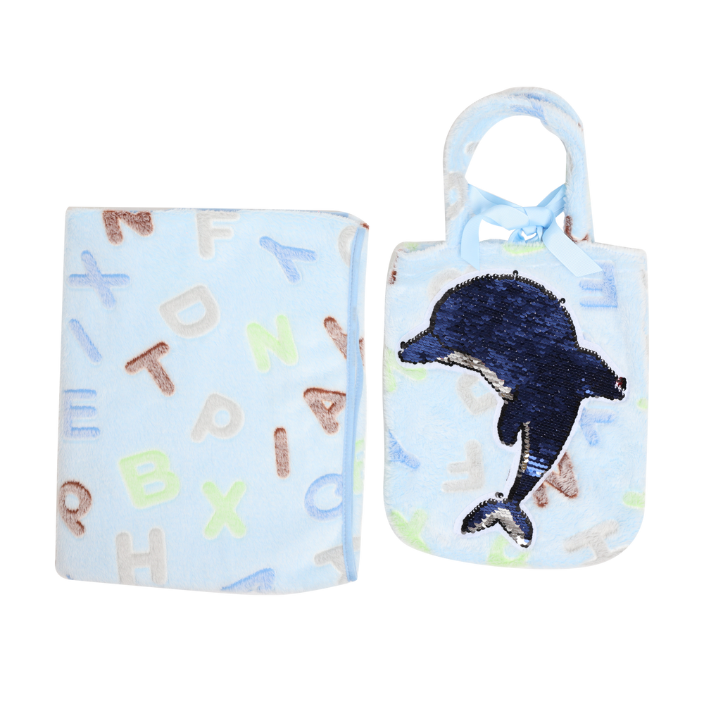 Bloom Fleece Blanket with Pouch, Dolphin