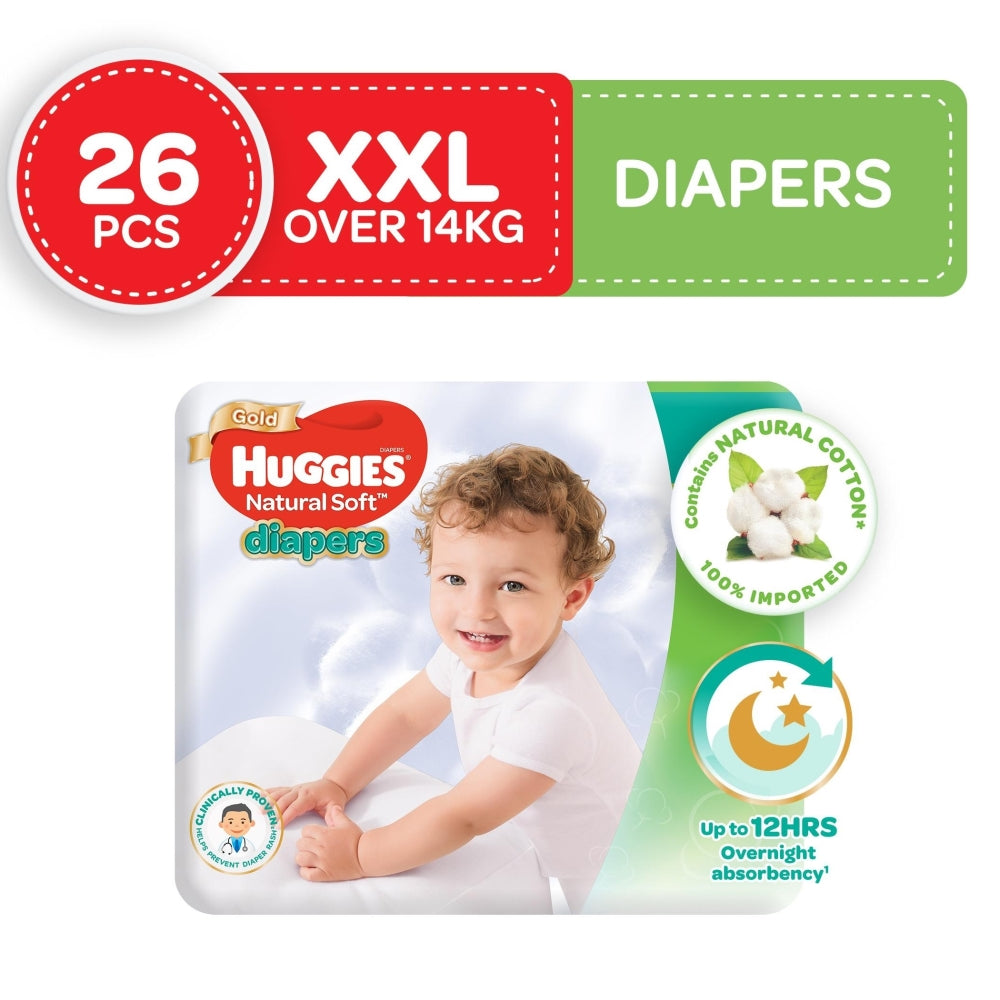 Huggies Natural Soft Taped Diapers XX Large 26s
