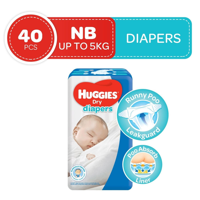 Huggies Dry Taped Diapers Newborn 40s