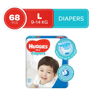 Load image into Gallery viewer, Huggies Dry Taped Diapers Super Jumbo Pack Large 68s