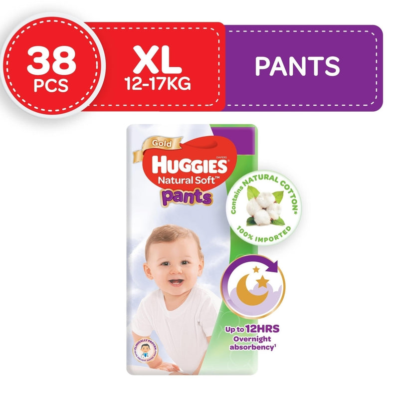 Huggies Natural Soft Pants Diapers X Large 38s