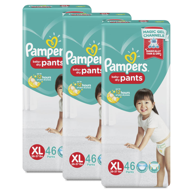 Pampers Dry Pants Diapers Xlarge46 Pads X 3 Packs (Case Promo)