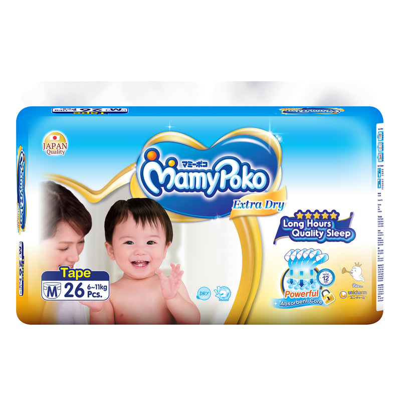MamyPoko Extra Dry Tape Diaper, Medium 26 Pads