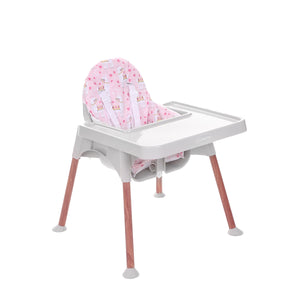 Dwelling Wooden Grey Breezy High Chair with Pad, Pink Llama