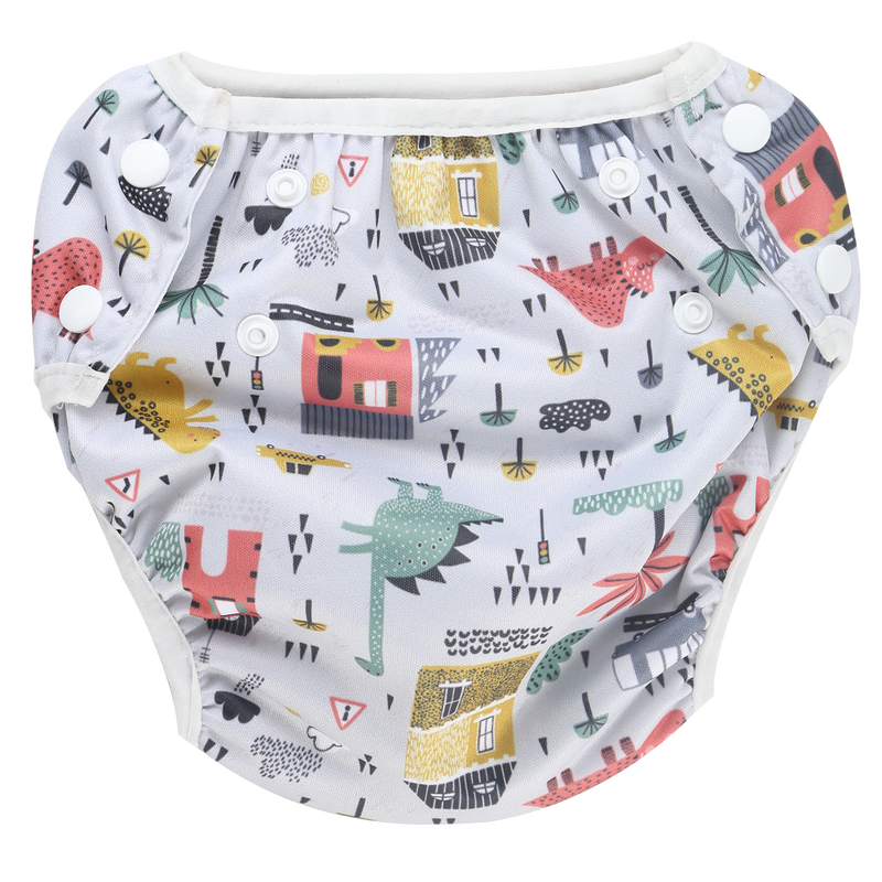 Belle & Coco 2-in-1 Swim Diaper - Dino Gray