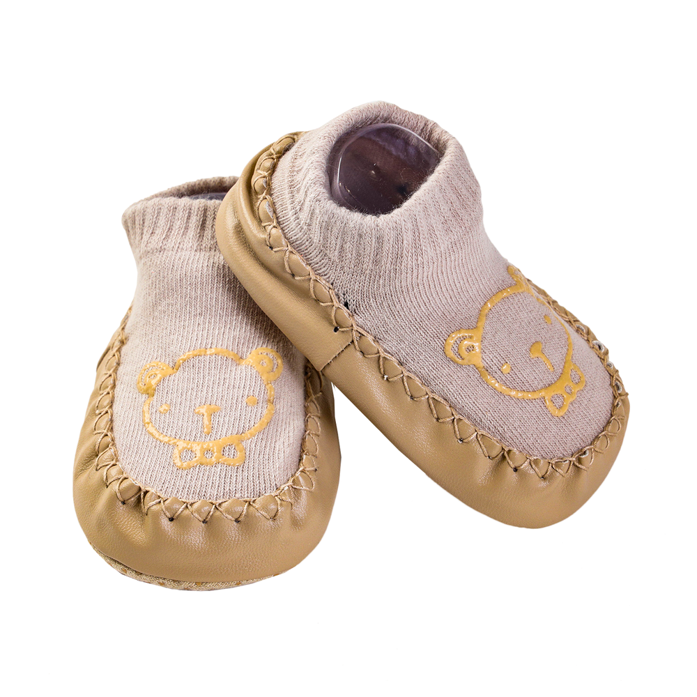 Tip Toe Non-Skid Crib Shoes, Brown Teddy
