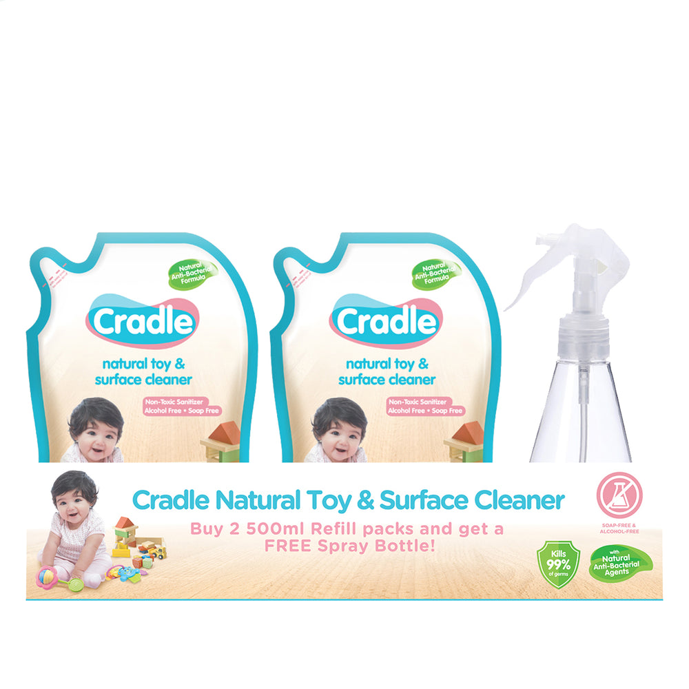 Cradle Toy & Surface Cleaner: Refill Packs + Spray Bottle