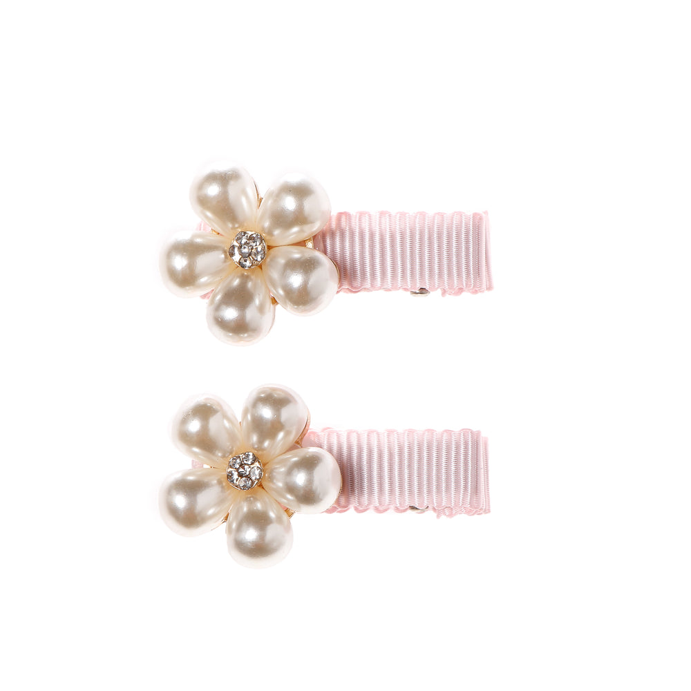 Belle and Coco 2-piece Pink Baby Hair Clip Set, Big Pearl Flowers