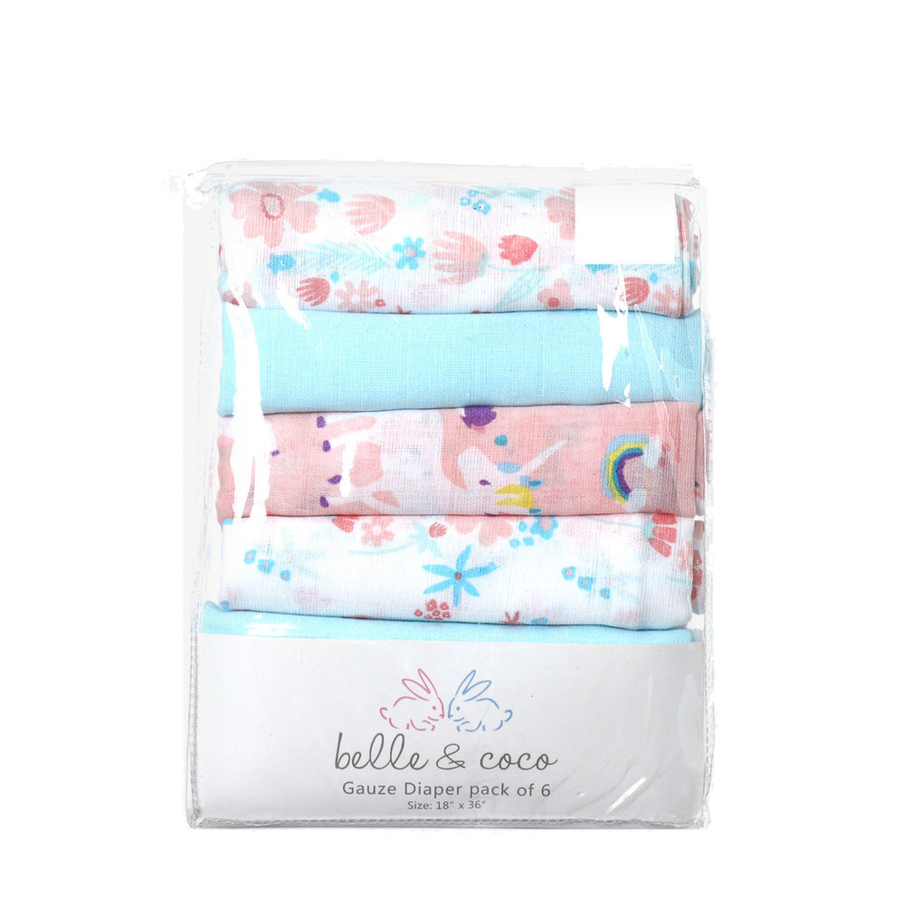 Load image into Gallery viewer, Belle & Coco 6-Piece Gauze Diaper Plain, Unicorns