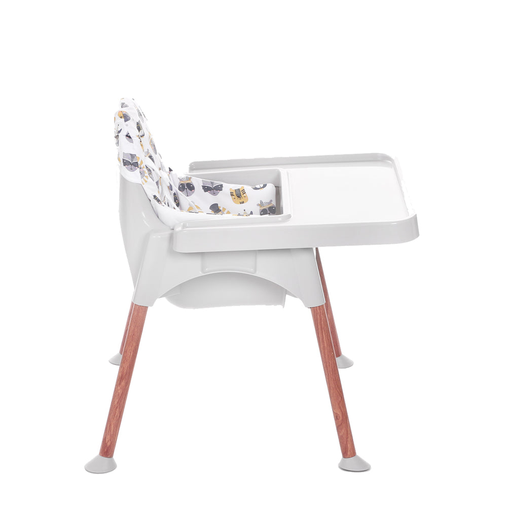Dwelling Wooden Grey Breezy High Chair with Pad, Animals