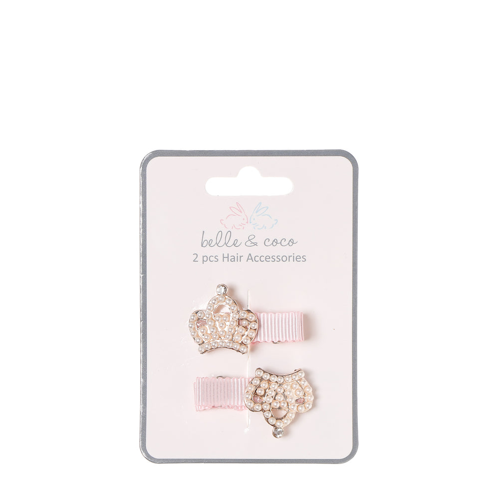 Belle and Coco 2-piece Pink Baby Hair Clip Set, Crown