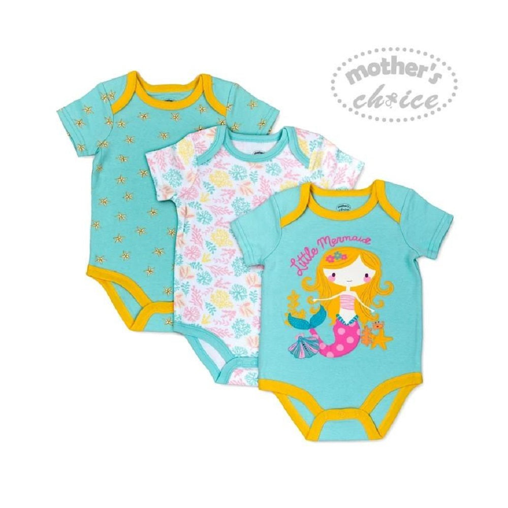Load image into Gallery viewer, Mother's Choice 3Pcs Bodysuit Set, Little Mermaid