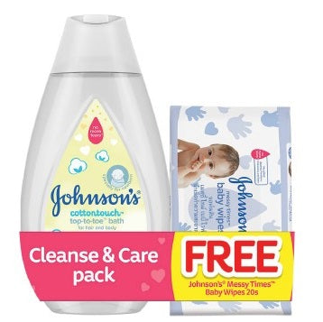 Johnson's Baby Cottontouch Top-to-Toe Bath 200ml with FREE Messy Times Baby Wipes 20s