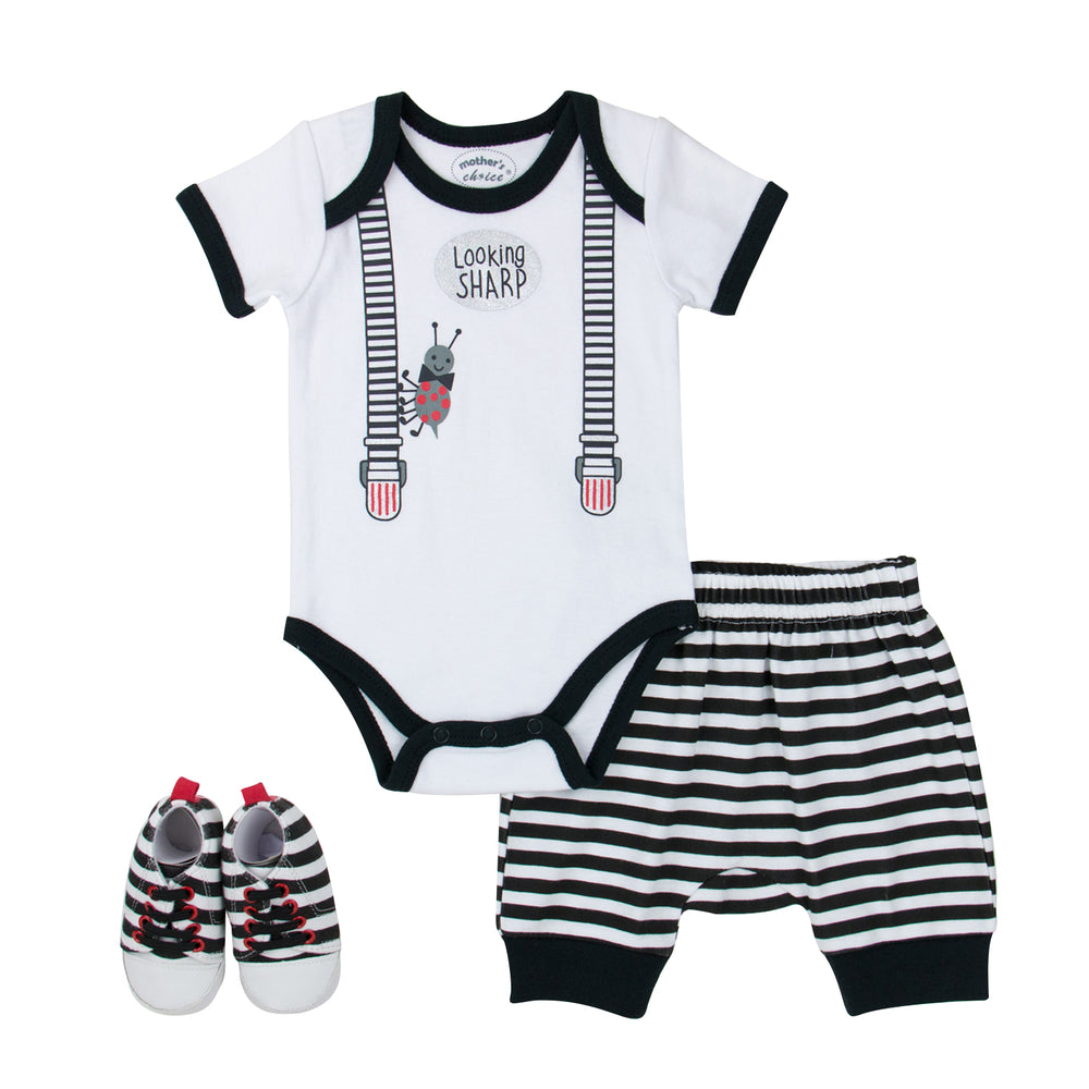 Mother's Choice Looking Sharp Bodysuit, Shorts, Shoes Set