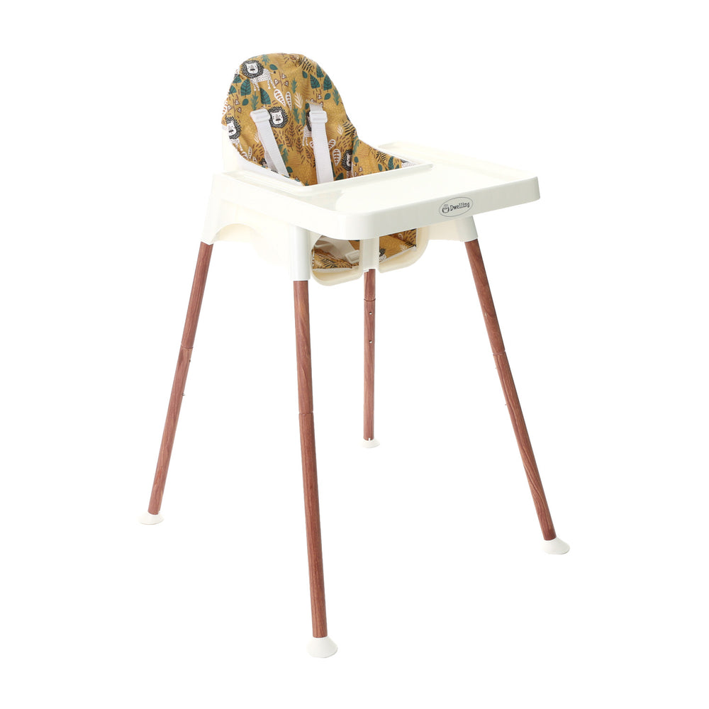 Dwelling Wooden White Breezy High Chair with Pad, Jungle Lion