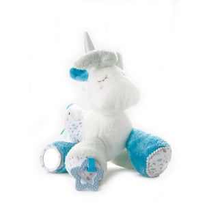 Unicorn Plush Toy with Rattle and Mirror