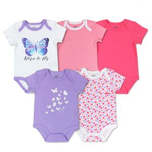 Mother's Choice 5 Pack Bodysuits, Pink and Purple Butterfly