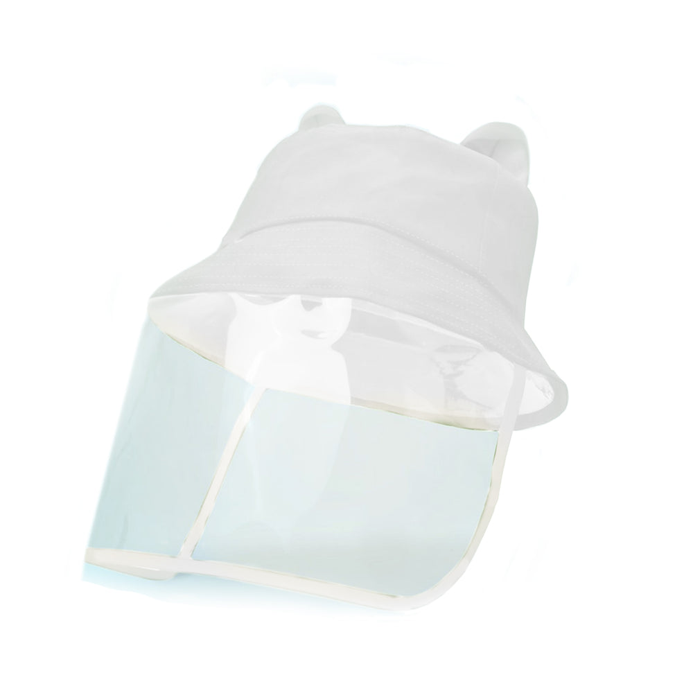 2D Bucket Hat Face Shield, White