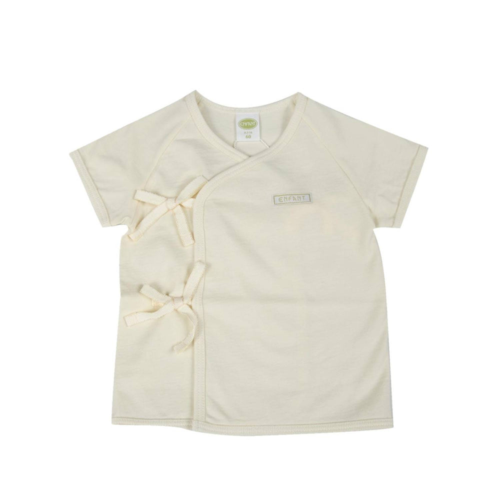 Enfant Organic Shortsleeves Tie-Side Shirt, Beige
