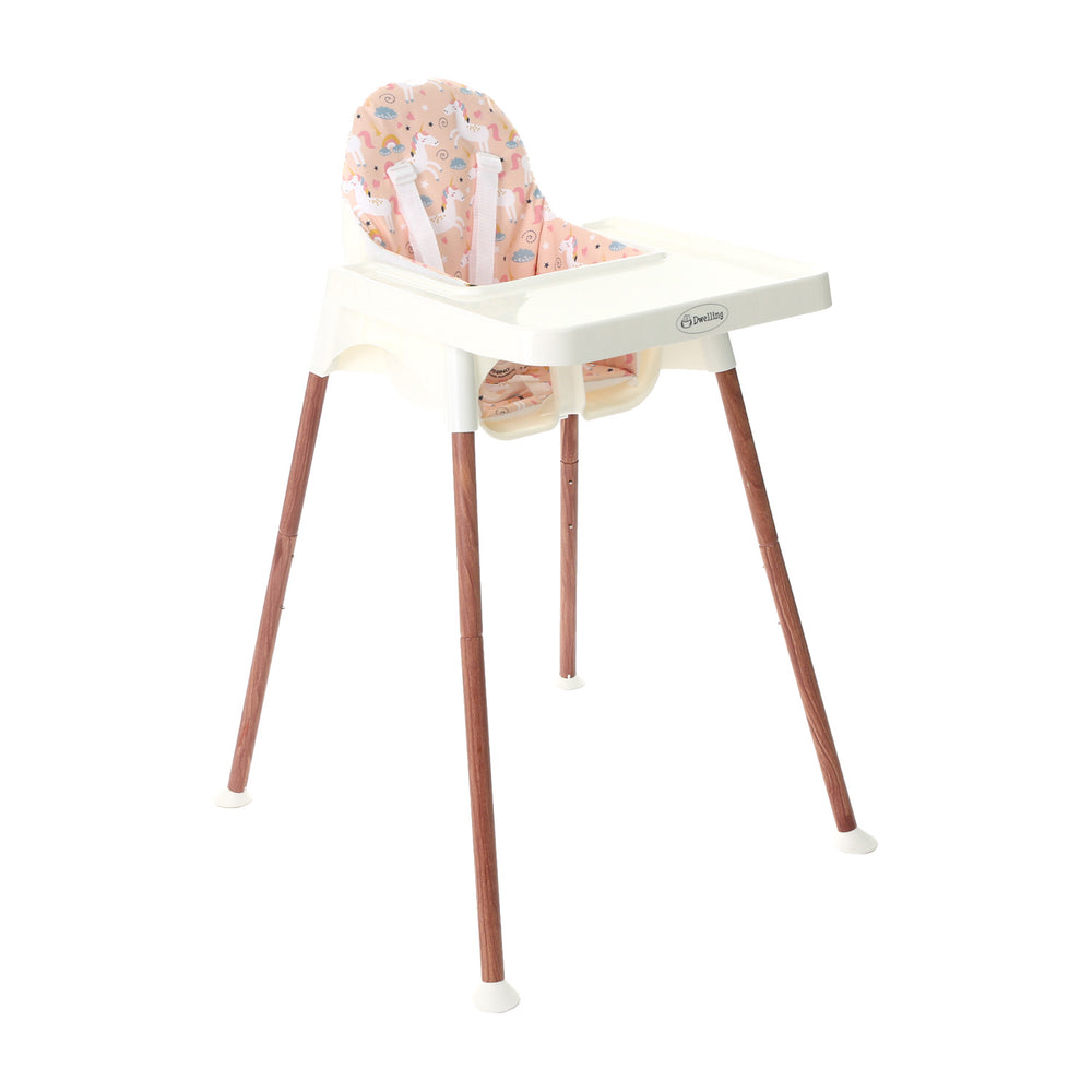 Dwelling Wooden White Breezy High Chair with Pad, Unicorn