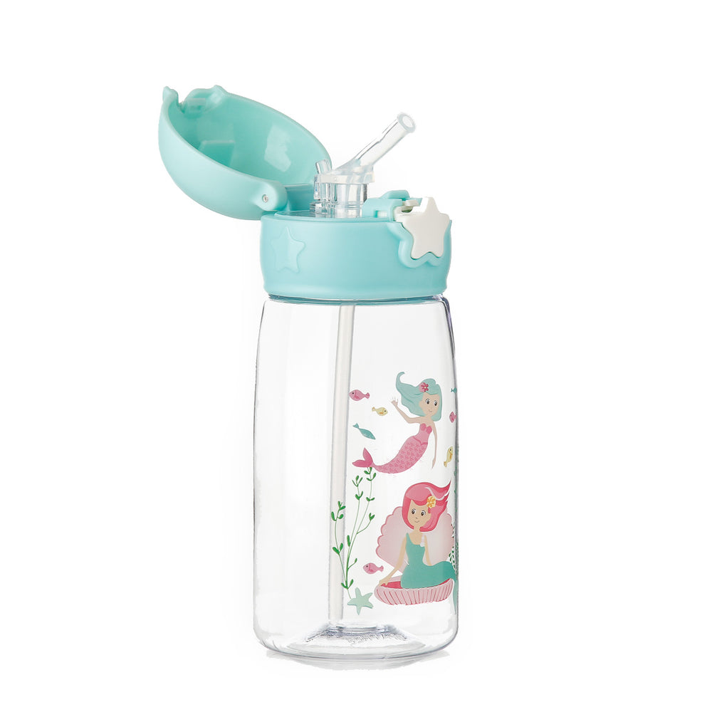 Giggles Mermaid Star Tumbler with Straw, Aqua
