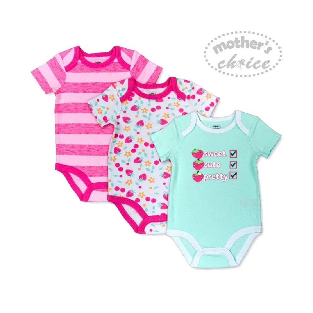Load image into Gallery viewer, Mother's Choice 3Pcs Bodysuit Set, Sweet Cute Pretty