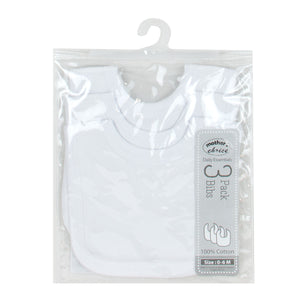 Mother's Choice 3-Pack Bibs, White Series