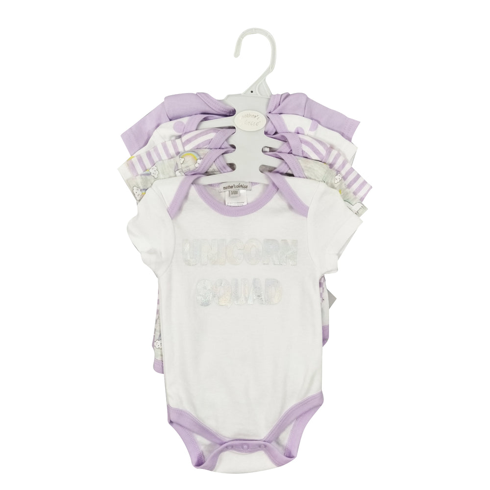 Mother's Choice 5 Pack Bodysuits, Unicorn Squad White & Lavender