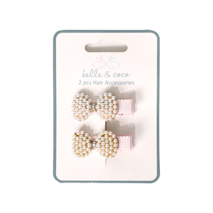 Load image into Gallery viewer, Belle & Coco 2-Piece Pink Clip Set, Pearl Ribon
