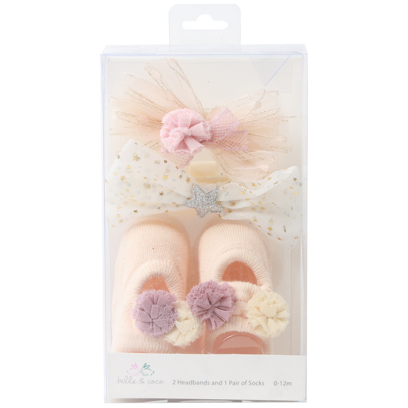 Belle & Coco 2 Headbands and 1 Pair of Socks Set 0-12 Months - Beige