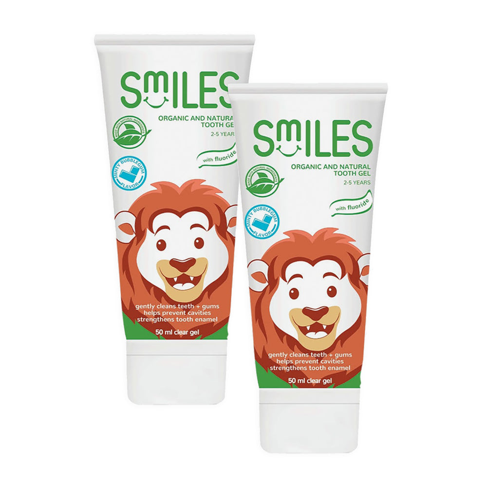 Smiles Organic & Natural 2-pack Tooth Gel 50ml - 2-5Y, Minty Bubblegum (Promo Pack)
