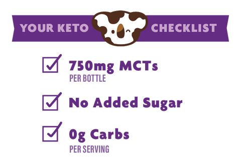 Keto Certified Checklist, 750mg MCTs, No Added Sugar, 0grams of Carbs