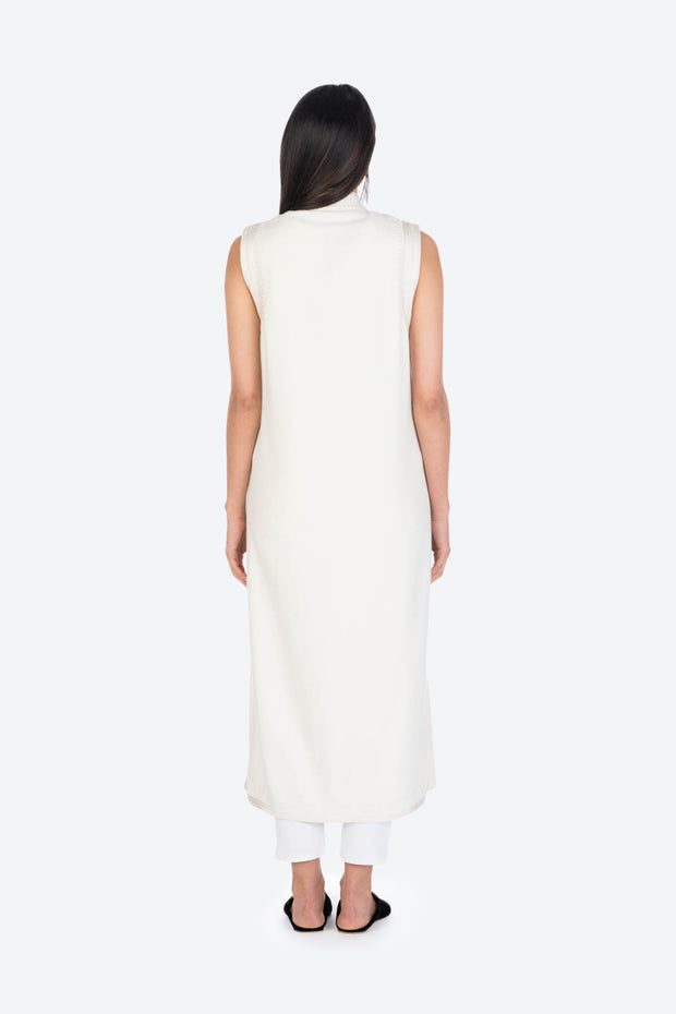 Ivory Moroccan Cashmere Long Tunic Vest