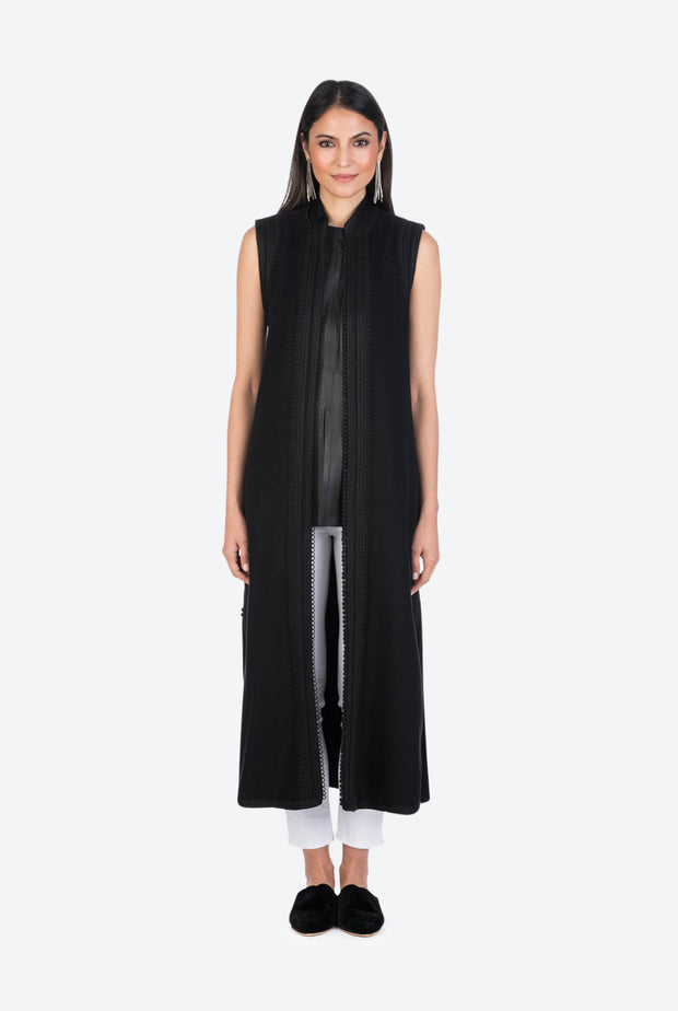 Black Moroccan Cashmere Long Tunic Vest