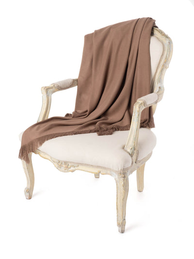 Taupe Moroccan Cashmere Fringe Throw Blanket