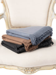 Slate Blue Moroccan Cashmere Fringe Throw Blanket