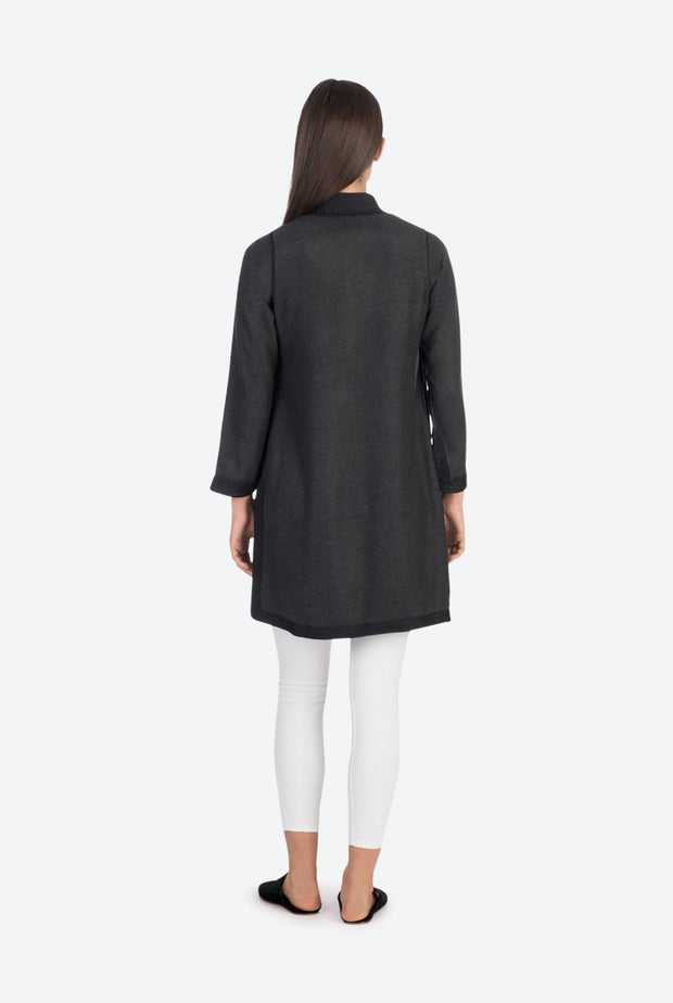 Charcoal Moroccan Cashmere Tunic Coat