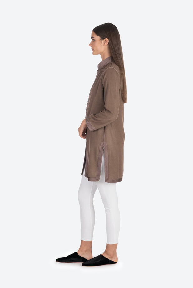 Taupe Moroccan Cashmere Tunic Coat