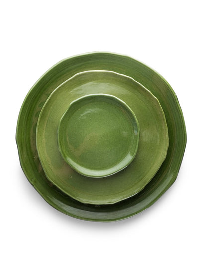 Green Glazed Plates (Set of 3)